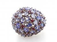 8.80ct Natural Tanzanite & Rhodolite Garnet Ring (GAL Certified) at PristineAuction.com