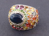 6.95ct Natural Black Opal & Multi-Colored Sapphire Ring (GAL Certified) at PristineAuction.com