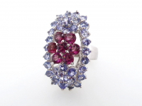 4.80ct Natural Tanzanite & Rhodolite Garnet Ring (GAL Certified) at PristineAuction.com