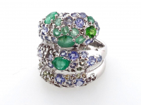 3.37ct Natural Emerald & Tanzanite Ring (GAL Certified) at PristineAuction.com