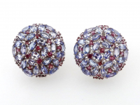 4.95ct Natural Tanzanite & Rhodolite Garnet Earrings (GAL Certified) at PristineAuction.com