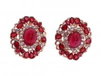 12.80ct Natural Ruby Earrings (GAL Certified) at PristineAuction.com
