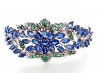 9.50ct Natural Kyanite & Emerald Bangle Bracelet (GAL Certified) at PristineAuction.com
