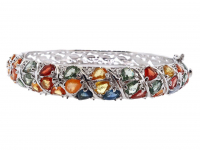 10.90ct Natural Multi-Colored Sapphire & Ruby Bangle Bracelet (GAL Certified) at PristineAuction.com