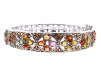 5.75ct Natural Multi-Colored Sapphire & Ruby Bangle Bracelet (GAL Certified) at PristineAuction.com