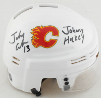 Johnny Gaudreau Signed Flames Mini Helmet (Gaudreau COA) at PristineAuction.com