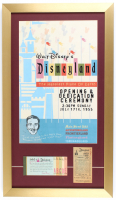 Disneyland 15x26 Custom Framed Print Display with Vintage Ticket Booklet & Parking Pass at PristineAuction.com