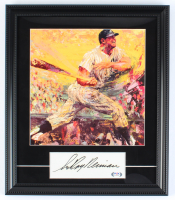 "LeRoy Neiman Signed ""Mickey Mantle"" 15x17.5 Custom Framed Cut Display with Art Print of Mickey Mantle (PSA COA) at PristineAuction.com"
