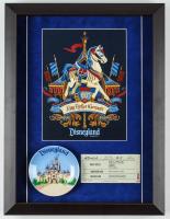 "Disneyland 14x18.5 Custom Framed ""King Arthur's Carousel"" Print Display with Vintage Ceramic Dish & 1960's Ride Ticket at PristineAuction.com"