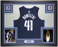 Dirk Nowitzki Signed 35x43 Custom Framed Jersey Display (Fanatics Hologram) at PristineAuction.com