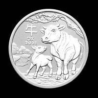 2021 1/2 oz .999 Fine Silver Year of the Ox, Lunar Series Silver Coin at PristineAuction.com