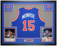 Earl Monroe Signed 35x43 Custom Framed Jersey Display (JSA COA) at PristineAuction.com