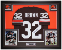 Jim Brown Signed 35x43 Custom Framed Jersey (Beckett COA) at PristineAuction.com
