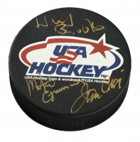 Herb Brooks, Mike Eruzione & Jim Craig Signed USA Hockey Puck (JSA LOA) at PristineAuction.com