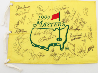 1999 Masters Pin Flag Signed by (35) with Tiger Woods, Payne Stewart, Sam Snead, Jack Nicklaus, Jose Maria Olazabal (Beckett LOA) at PristineAuction.com