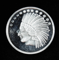 Silvertowne Gold Indian Head 1 Oz. Fine Silver Version Bullion Round at PristineAuction.com