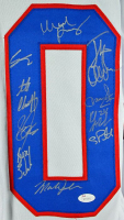 "1980 Team USA Hockey ""Miracle on Ice"" Jersey Signed by (19) with Mike Eruzione, Jim Craig, Ken Morrow, Buzz Schneider (JSA COA) at PristineAuction.com"