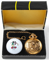 Mickey Mouse Box Set with (1) Golf Ball & (1) Pocket Watch at PristineAuction.com