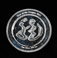 2012 Year of the Dragon Silver Bullion Round at PristineAuction.com