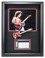 Eddie Van Halen Signed Van Halen 21x26.5 Custom Framed Cut Display with Mini-Guitar (PSA Encapsulated) at PristineAuction.com