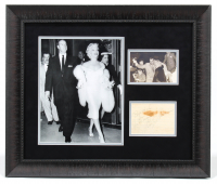"Joe DiMaggio & Marilyn Monroe Signed 22x26 Custom Framed Cut Display Inscribed ""Best Wishes"" (JSA LOA) at PristineAuction.com"
