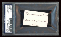 "Muhammad Ali Signed 1.5x2.25 Cut Inscribed ""Serve God, He Is The Goal"" (PSA Encapsulated) at PristineAuction.com"