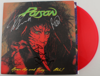 "Poison ""Open Up and Say... Ahh!"" Vinyl Record Album Cover Band-Signed by (4) with Bret Michaels, Rikki Rockett, C.C. DeVille & Bobby Dall (JSA Hologram) at PristineAuction.com"