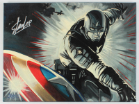 "Stan Lee & Chris Cargill Signed ""Captain America"" 18x24 Painting On Canvas (JSA COA) at PristineAuction.com"