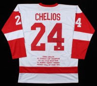 Chris Chelios Signed Career Highlight Stat Jersey (JSA COA) at PristineAuction.com