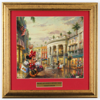 "Thomas Kinkade Walt Disney's ""Mickey & Minnie Mouse in Beverly Hills"" 16.5x16.5 Custom Framed Print Display at PristineAuction.com"