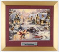 "Thomas Kinkade Walt Disney's ""Mickey & Minnie Ice Skating"" 14x16 Custom Framed Print Display at PristineAuction.com"