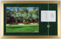 Augusta Master Golf 16x25 Textured Art Print Custom Frame Display with Official Score Card & Masters Pin at PristineAuction.com