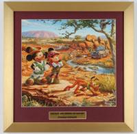 "Thomas Kinkade Walt Disney's ""Mickey & Minnie On Safari"" 16x16 Custom Framed Print Display at PristineAuction.com"