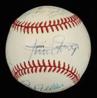 Rangers Logo Baseball Signed By (10) with Willie Mays, Mickey Mantle, Bob Feller, Bob Lemon, Lloyd Waner & Bill Dickey (JSA ALOA) at PristineAuction.com