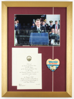 Ronald Reagan 15x20 Custom Framed Photo Display with Inauguration Invitation & Pin at PristineAuction.com