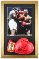 Mike Tyson Signed 15x23 Custom Framed Boxing Glove Display (PSA COA) at PristineAuction.com