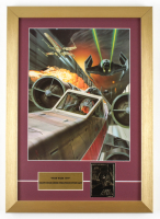 """Ralph McQuarrie """"Star Wars: Return of the Jedi"""" 15x21 Custom Framed Pre Production Art Print Display with Vintage Star Wars 23 KT Gold Card at PristineAuction.com"""