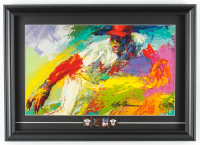 "LeRoy Neiman ""Bob Gibson"" 14x19.5 Custom Framed Print Display with Original Hall of Fame Pin at PristineAuction.com"