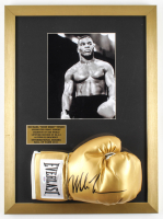 Mike Tyson Signed 17x23 Custom Framed Boxing Glove Display (PSA COA) at PristineAuction.com