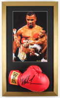 Mike Tyson Signed 15x25 Custom Framed Boxing Glove Display with Textured Art Print of Mike Tyson (PSA COA) at PristineAuction.com