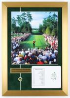 """Tiger Woods 14x20 """"The 18th Tee At Augusta National"""" Custom Framed Photo Display with Official Augusta National Scorecard & Masters Pin at PristineAuction.com"""