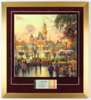 Thomas Kinkade Disneyland 20x22 Custom Framed Textured Print On Canvas Display with Full Vintage Ticket Booklet at PristineAuction.com