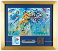 """LeRoy Neiman """"1980 Winter Olympics"""" 17x19 Custom Framed Print Display featuring Miracle On Ice Team with Original Olympic Patch & Pewter Emblem at PristineAuction.com"""