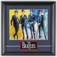 "LeRoy Neiman ""The Beatles"" 14x14 Custom Framed Print Display with Vintage Beatles Patch at PristineAuction.com"