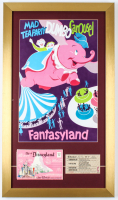 """Vintage Walt Disney's 1960's """"Mad Tea Party, Dumbo, Carousel"""" 15x26 Custom Framed Print Display With Adult Admission Ticket at PristineAuction.com"""