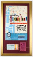 Walt Disney's Disneyland Opening Dedication Ceremony 15x26 Custom Framed Print Display With Vintage Ticket Book & 25¢ Parking Pass at PristineAuction.com