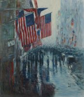 "Rodney Weng Signed ""Fifth Ave: New York City"" 26.5x31 Original Oil Painting on Canvas (PA LOA) at PristineAuction.com"