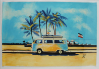 "Rodney Weng Signed ""Coastline Drive"" 25x37.5 Original Oil Painting on Canvas (PA LOA) at PristineAuction.com"