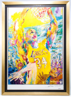 "LeRoy Neiman Signed ""Shaquille O'Neal"" 26x36 Custom Framed Print Display (PSA COA) at PristineAuction.com"