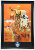 "Vintage 1977 Star Wars Coca-Cola ""R2-D2 & C-3PO"" 20.5x30 Custom Framed Poster Display with Original 1977 Star Wars Lapel Pin at PristineAuction.com"